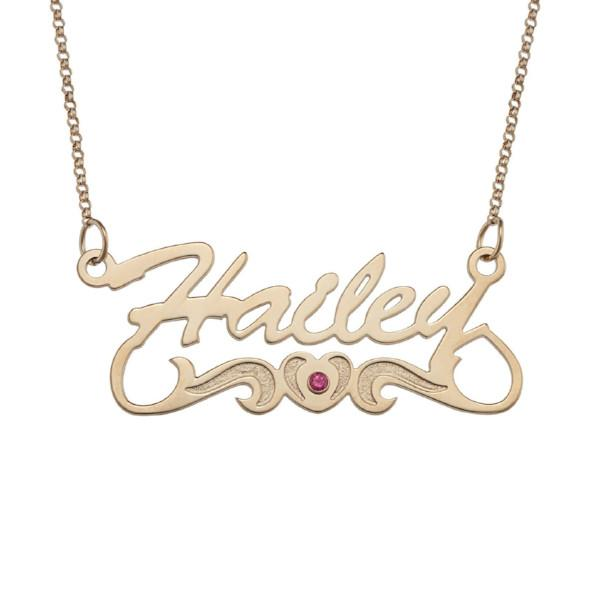 """Hailey"" Personalized Script Name Heart Birthstone Necklace"