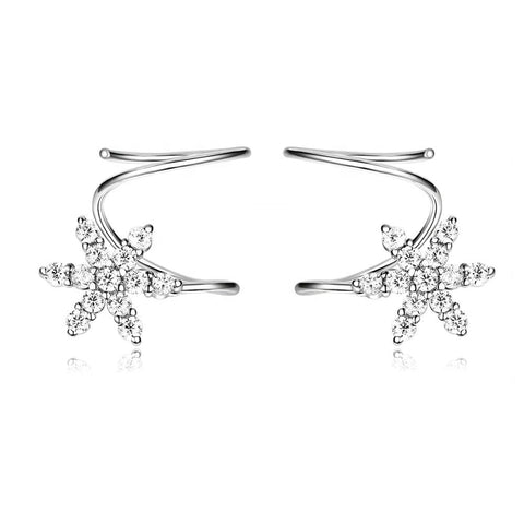 silver Pave CZ Snowflake Earrings