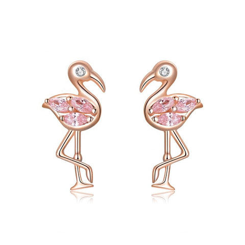 Wholesale fashion jewelry Rose Gold Plated Pink Flamingo Crystal Stud Earrings