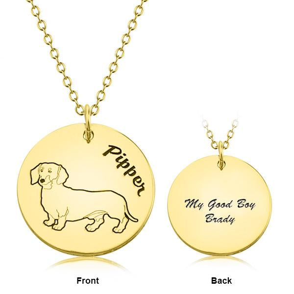 "925 Sterling Silver Personalized Engraved Pets Photo and Text NecklaceAdjustable 16""-20"""