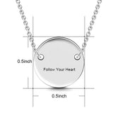 "925 Sterling Silver Personalized Engravable Hang Tag Round Necklace-Adjustable 16""-20"""