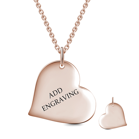 "14K Gold Personalized Heart Engravable  Hang Tag Necklace Adjustable 16""-20"""