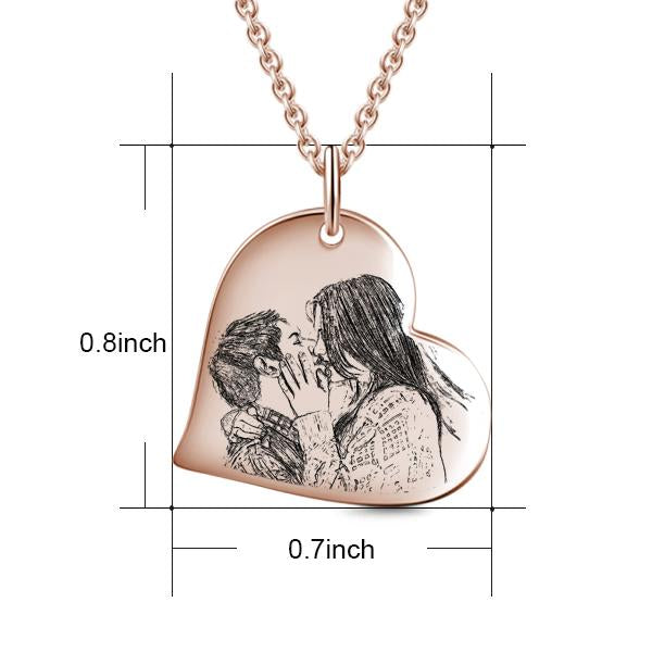 "Sealed With A Kiss - Love Heart Copper/925 Sterling Silver Personalized Engraved Photo Necklace Adjustable 16""-20"""