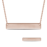 925 Sterling silver/Copper Engravable Bar Necklace Adjustable Chain