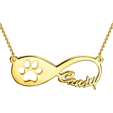 925 Sterling Silver Pawprint Infinity Name Necklace Adjustable Chain- White Gold/Yellow Gold/Rose Gold