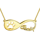 "Copper/925 Sterling Silver Personalized Pawprint Infinity Name Necklace  Adjustable 16""+2"""
