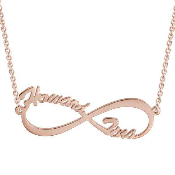"Infinite Love - 925 Sterling silver/Copper Personalized Gold Name Necklace Adjustable 16""+2""-White Gold/Yellow Gold/Rose Gold"