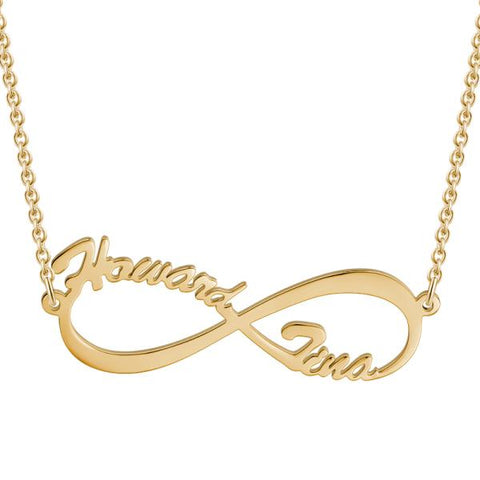 "Infinite Love - 925 Sterling silver/Copper/Steel Personalized Gold Name Necklace Adjustable 16""-20""-White Gold/Yellow Gold/Rose Gold"