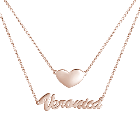 Two Layers Personalized Heart Name Necklace