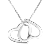 "Two Hearts as One - 10K/14K Gold Personalized Double Heart Necklace Adjustable 16""+2"""