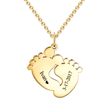 "Baby Feet 10K/14K Gold Personalized Engravable Name And Birthday Hang Tag Memories  Necklace Adjustable 16""-20"""