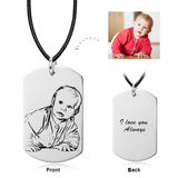 "Personalized Engraved Kids Photo Necklace Adjustable 16""-20"" -14K Gold"