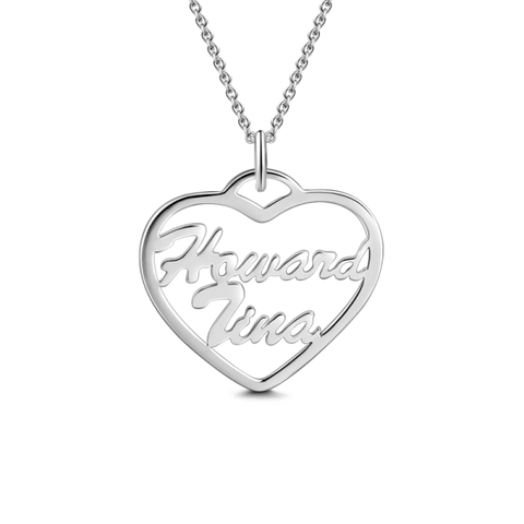 "925 Sterling silver/Copper/Steel Heart Name Necklace Adjustable 16""-20""-White Gold/Yellow Gold/Rose Gold"