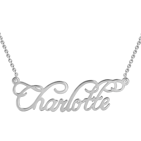 """Charlotte"" Style 14K Personalized Name Necklace Adjustable 16""-20"""