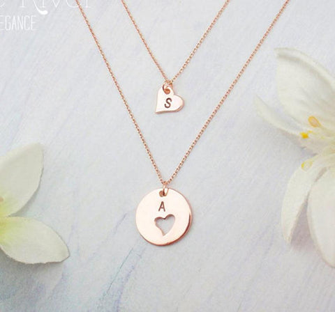 "925 Sterling Silver Personalized Round &Heart  Engravable Initial Necklaces  Adjustable 16""-20"""