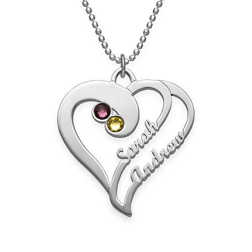 "Heart To Heart Forever-925 Sterling Silver Personalized Birthstone Heart Name Necklace -Adjustable 16""-20"""
