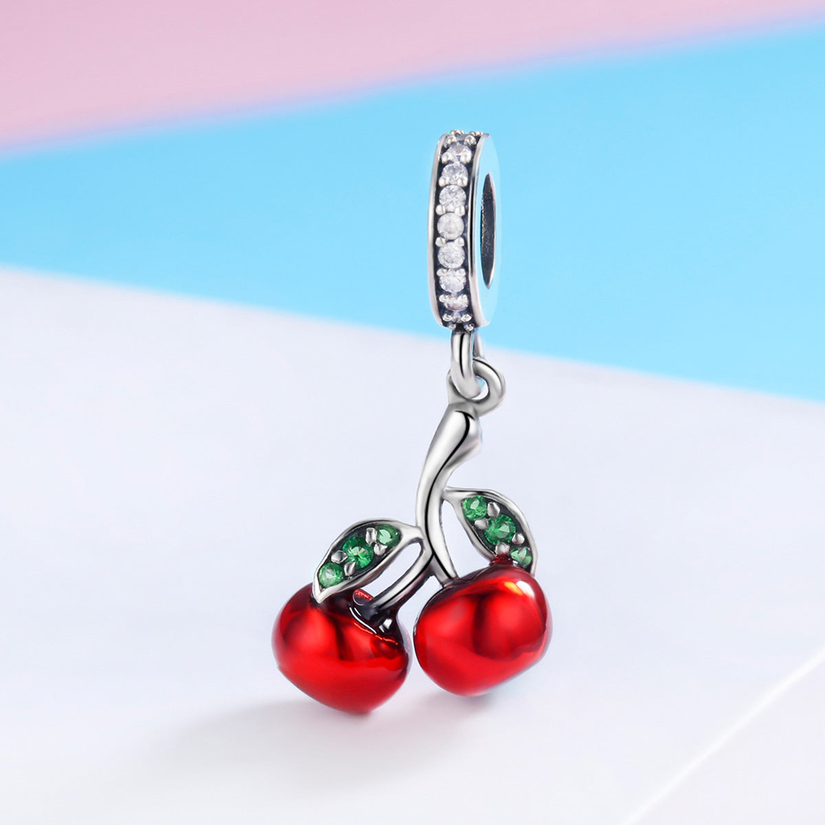 S925 Sterling Silver Oxide Agate Zircon Summer Cherry Dangle Charms