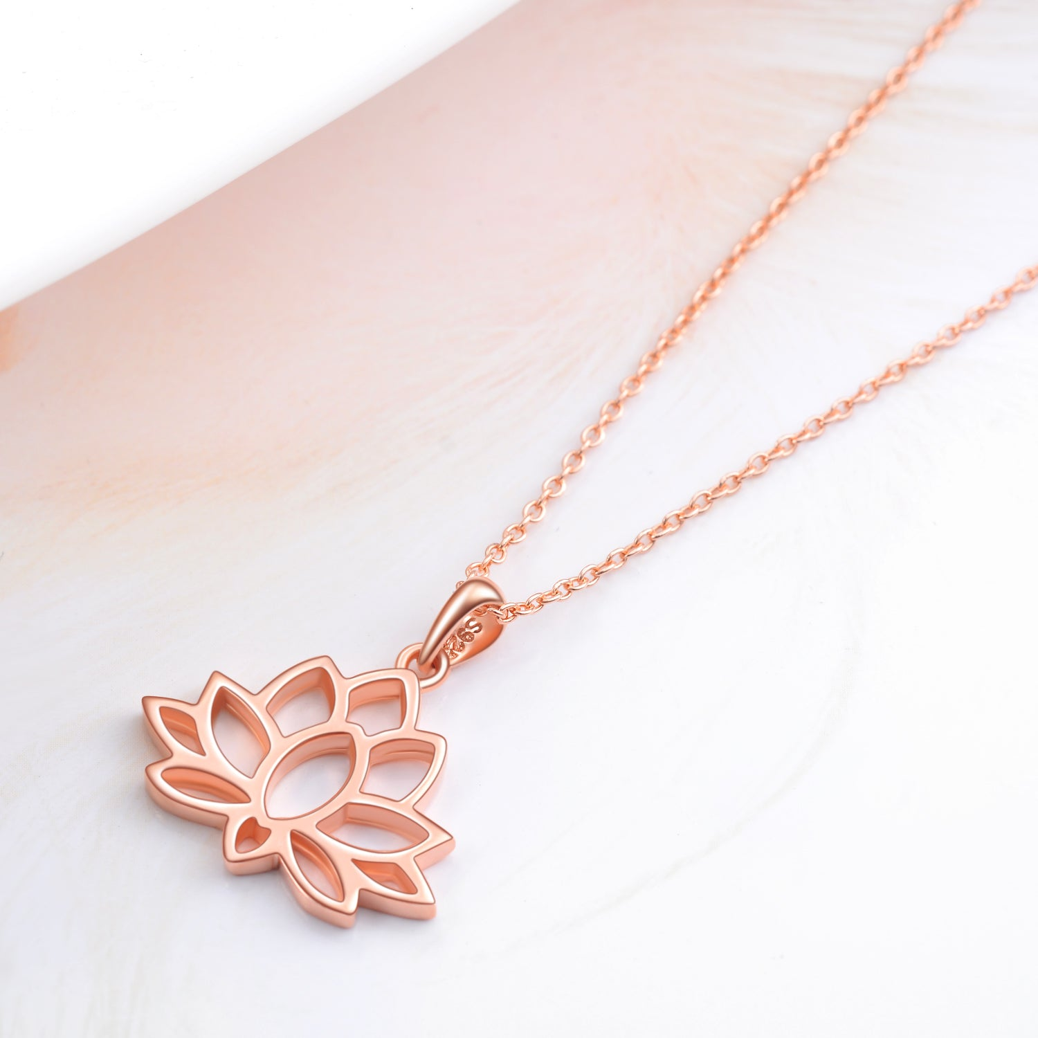 Lotus Engraved Necklace Water Lily Shape Chain Plant Design Necklace