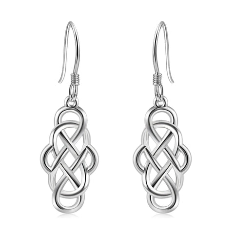 Celtic Knot Dangle Earrings Silver Wire Weaving Earring For Women