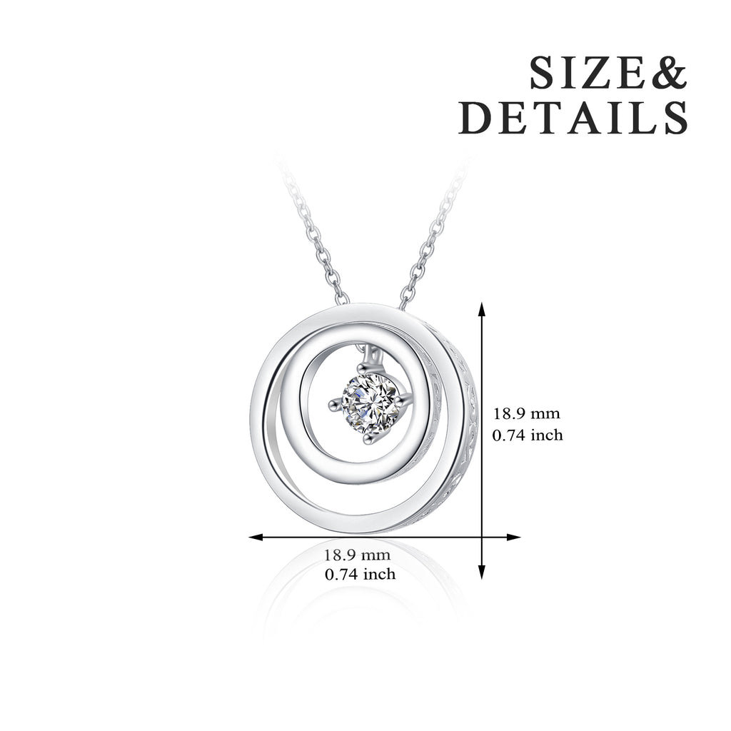 Double Circle Necklace Charm Silver Rhodium Plated Necklace