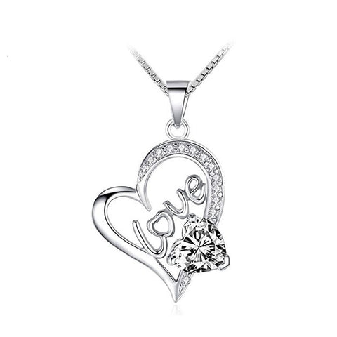 Korean Version Of S925 Sterling Silver Fashion Creative Love Love Micro-Inlaid Necklace Pendant Female
