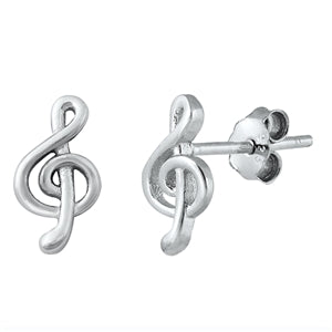 Silver  Treble Clef  Stud Earrings