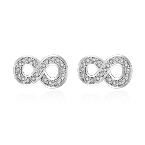 Latest Factory Price Number Eight Cubic Zirconia Stud Earring Silver