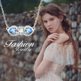 New Shiny Zircon Necklace Invisible Blue Gemstone Chain Pendant Necklace for Women Jewelry Gift