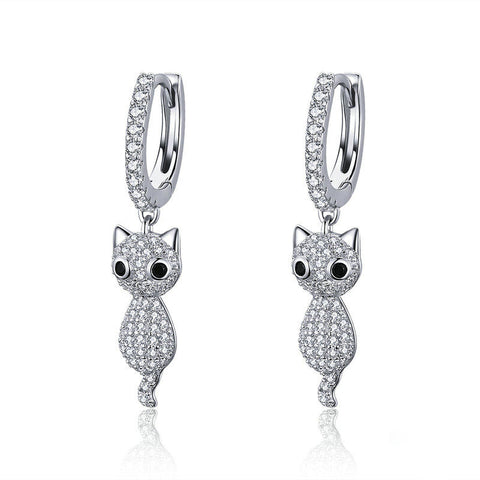 Cute Cat Crystal Pussy Dazzling Cubic Zircon Drop Earrings
