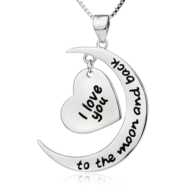 """I Love You To The Moon And Back "" Carved Moon And Heart Shape Necklace 925 Sterling Silver"