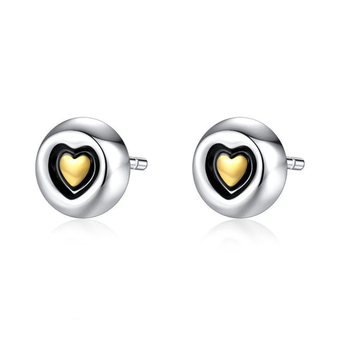 Heart Stud Earrings S925 Sterling Silver Simple Earrings wholesale