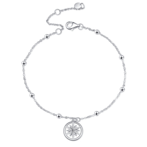 Silver Adjustable Classic Chain Lucky Goddess Star Anklet for Women