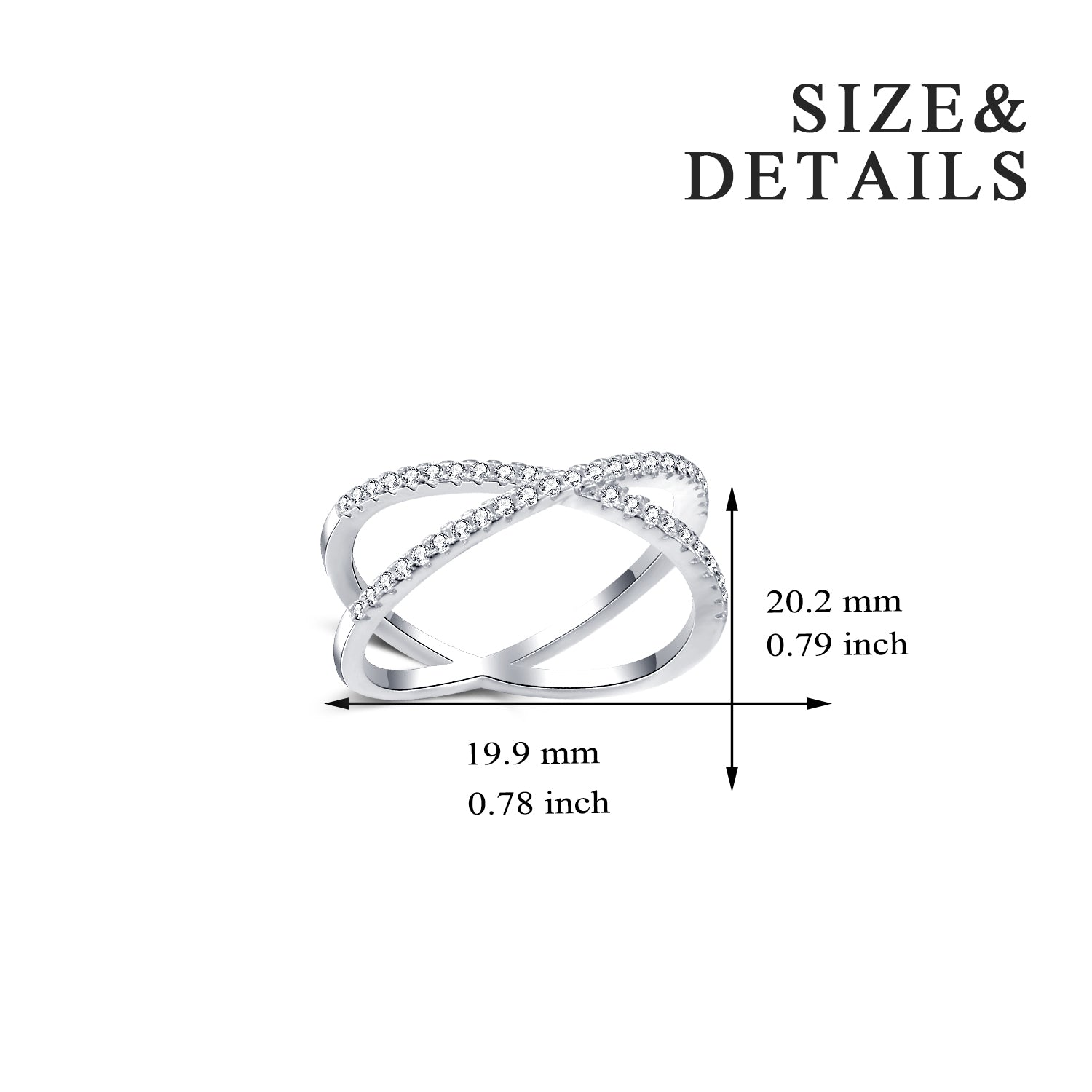925 Sterling Silver Wedding Jewelry Criss Cross Ring for Women