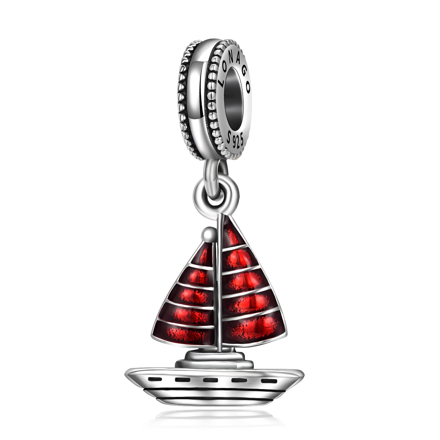 Sailboat Shape Colorful Red Cubic Zirconia Beads 925 Sterling Silver Sailboat Beads Charms