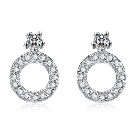 Geometric Butterfly Shape Cubic Zirconia Earrings Round Hollow Earrings