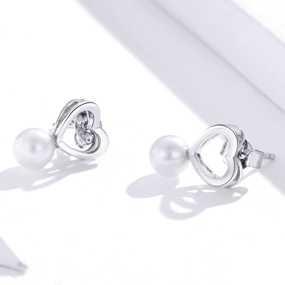 925 Sterling Silver Shining Shell Pearl Heart Stud Earring Precious Jewelry For Women