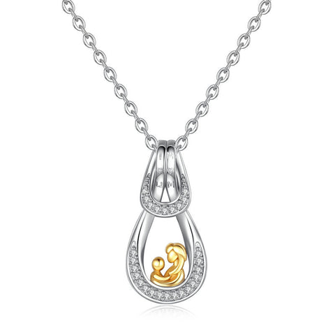 Heart shape zircon gold-plated I LOVE U MOM Messages sterling silver necklace pendant for mother's day