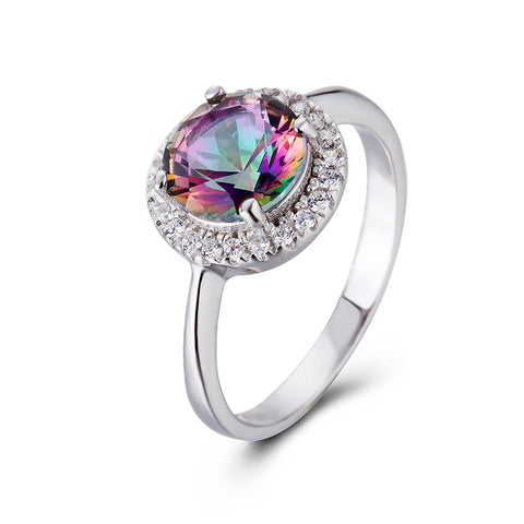 Fashion Gemstone Ring 925 Sterling Silver Cubic Zirconia Ring