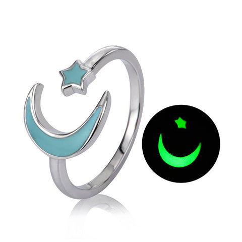 moon&star glowing adjustable open ring
