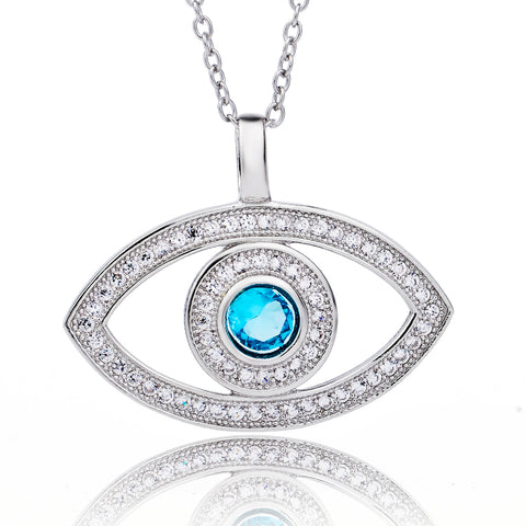 Sapphire Eye Shape Zircon Necklace Wholesale Boutique Accessories White Gold Plated Necklace