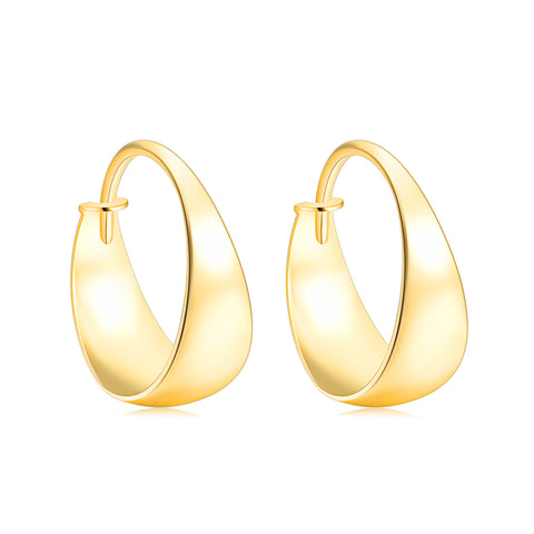 18K Gold New Bright Curved Hoop Earrings Ins Wind Personality European And American Earrings Fashion Female Earrings