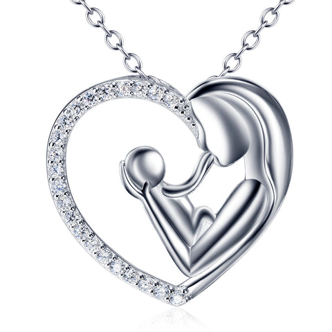 Inspired Mother Holding Kid Shaped Necklace Wholesale 925 Sterling Silver Necklace