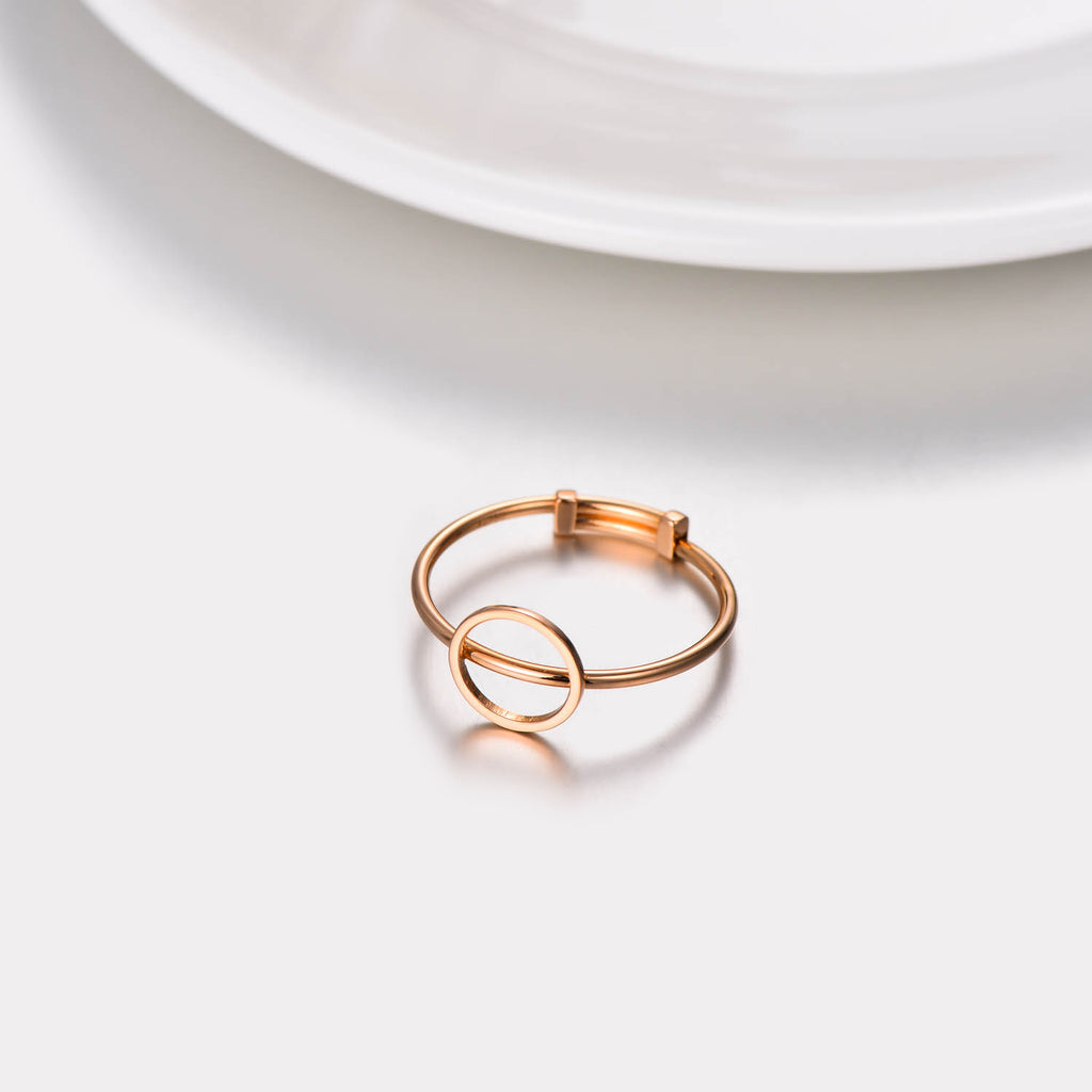 18K Gold Japanese And Korean Temperament Simple New Hollow Circle Adjustable Ring
