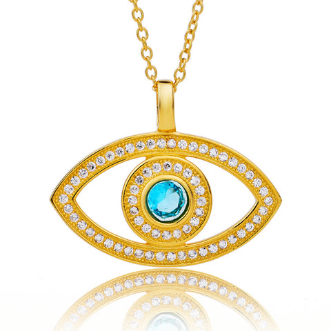 Sapphire Eye Shape Zircon Necklace Wholesale Boutique Accessories Rose Gold Plated Necklace