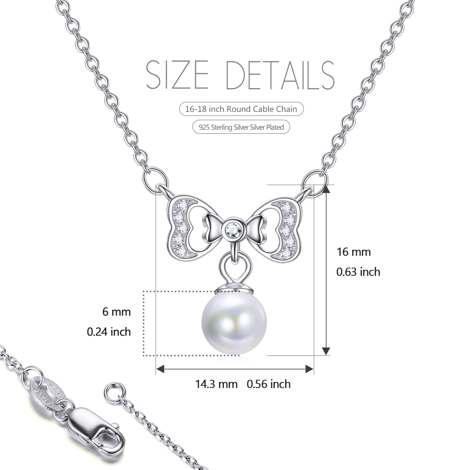 Pearl Bow Necklace Pendant Design Beautiful Love Jewelry Necklace