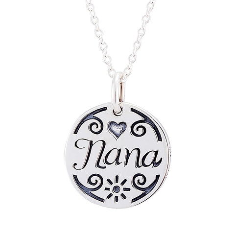 Beautiful Interesting Pattern Engraved Necklace Silver Mother Child Necklace