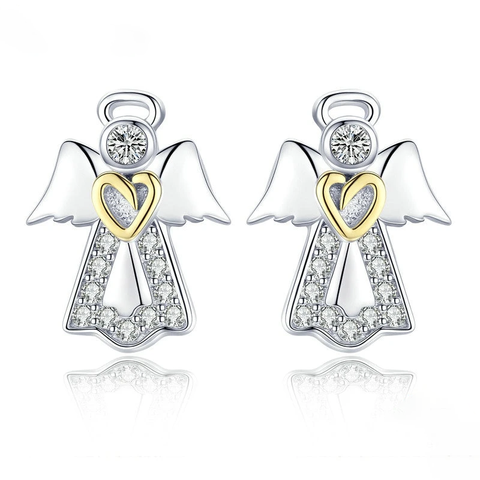 Silver Guardian Angel Exquisite Stud Earrings