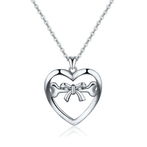 heart shape  bones Ribbon Bow S925 sterling silver necklace pendant fashion pop jewelry