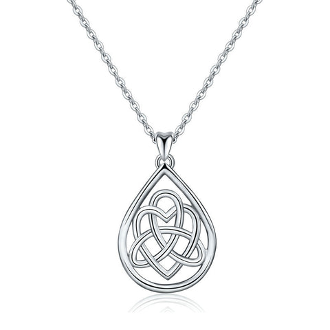 Celtic knot necklace pendant drop-shaped item sterling silver jewelry