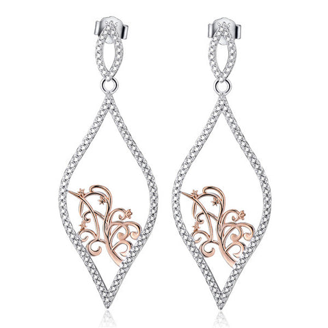 Hollow family tree carved earrings rose gold color drop earrings